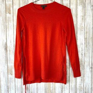 J Crew Side-Slit Sweater Ties Red Orange S